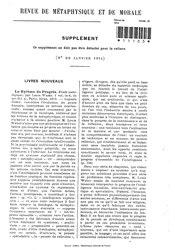 Revue de métaphysique et de morale, supplément 1, 1914