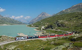 Bernina Express - Bernina Express on the Bernina line, passing Lago Bianco