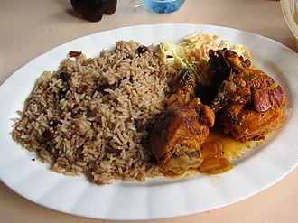 Belizean Creole people - Rice and Beans (with Coconut Milk), Stewed Recado Chicken and Potato Salad