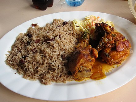 Rice and beans (with coconut milk), stewed recado chicken and potato salad. An inter-ethnic staple meal Rice and Beans, Stew Chicken and Potato Salad - Belize.jpg
