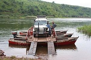 Luvua River - Car being ferried across the Luvua River near Pweto, Katanga, DRC