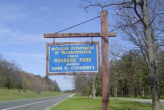 Roadside park - Roadside park sign to alert travelers