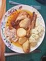 Roast Chicken, roast potatoes, parsnips & caulflower cheese - 05 05 2019 (48014487143).jpg