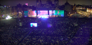 """Harun Mehmedinović - Roger Waters of Pink Floyd performs """"Breathe"""" to Sean Evans animation and DISHDANCE visuals by Harun Mehmedinovic and Gavin Heffernan in front of a 200,000 person crowd in Mexico City"""