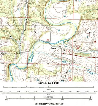 Rome, Missouri - Section of the USGS Brownbranch, MO 7.5 minute topographic showing location w/scale