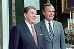 Ronald Reagan and George H. W. Bush in The Treaty Room Posing for The 1987 Cabinet Photo.jpg