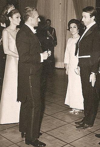 Iranian National Ballet Company - Robert de Warren and Haideh Ahmadzadeh conversating with the Shah and Empress Farah at the Roudaki Hall Opera. 1967