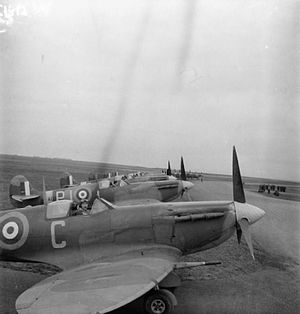 No. 130 Squadron RAF - Supermarine Spitfire Mark VBs of No 130 Squadron RAF, lined up at Perranporth, Cornwall