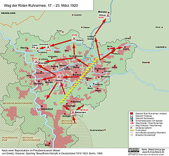 "Ruhr uprising - Map showing the path taken by the ""Red Ruhr Army"", 17–23 March 1920."
