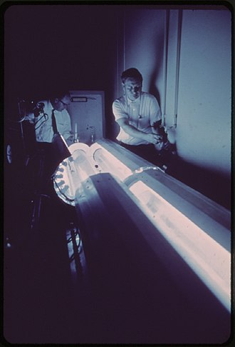 California Air Resources Board - Researchers at the Statewide Air Pollution Research Center manufacture smog using a photochemical tube reactor (May 1972)