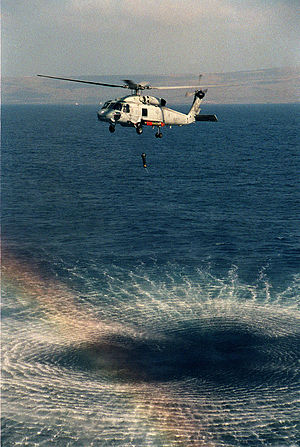 AQS-13 - U.S. Navy SH-60F helicopter with AQS-13F transducer deployed