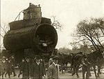 SM UC-5 German Type UC I minelayer submarine or U-boat being transported to Central Park NYC 1917.jpg