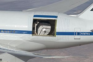 Infrared astronomy - SOFIA is an infrared telescope in an aircraft, shown here in a 2009 test