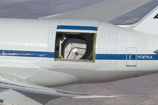 SOFIA with open telescope doors; by NASA/Carla Thomas [Public domain], via Wikimedia Commons