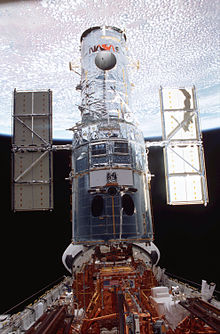 Hubble in Columbia's payload bay towards the end of the mission