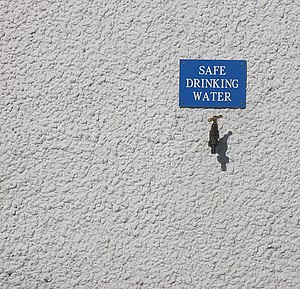 English: Safe drinking water Tap in the wall o...