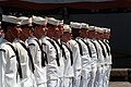 Sailors from USS Pharris (FF-1094) standing at attention during change of command ceremony Fort Lauderdale Navy Appreciation Week 1989 DN-SC-90-01844.jpg