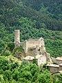 Saint-André-de-Chalançon, vue sur Chalancon village, château et église.JPG