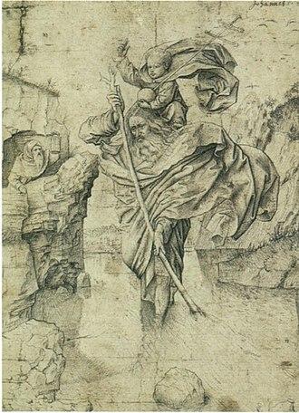 Saint Christopher (after van Eyck) - Saint Christopher, follower of van Eyck, Louvre