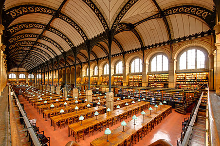 Reading room of Bibliotheque Sainte-Genevieve in Paris