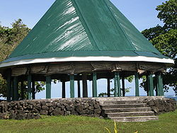 Fale tele, meeting house, Lelepa village in Gaga'emauga district. Architecture of Samoa dictate seating positions in cultural ceremony & ritual.