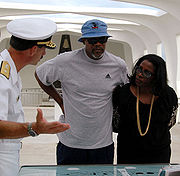 Jackson and his wife Latanya Richardson during a tour of Naval Station Pearl Harbor