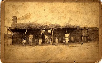 San Carlos Apache Indian Reservation - Guard House in San Carlos, Arizona circa 1880.  Photograph by Camillus S. Fly.