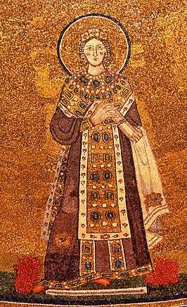Mozaïek van de heilige Agnes in de Santa Agnese kerk