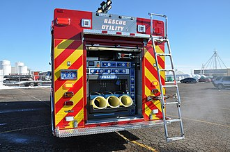 Light and air unit - The SCBA bottle filler on the back of SMFD Light and Air 1.