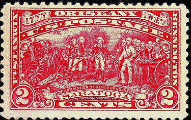 A 1927 sesquicentennial commemorative stamp reproducing the painting Saratoga 1777 Oriskany 1927 Issue-2c.jpg