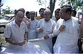 Saroj Ghose Explaining Science City Project To Prasanta Chatterjee - Meeting Between CMC And NCSM Officers - Science City Site - Dhapa - Calcutta 1993-04-22 0565.JPG