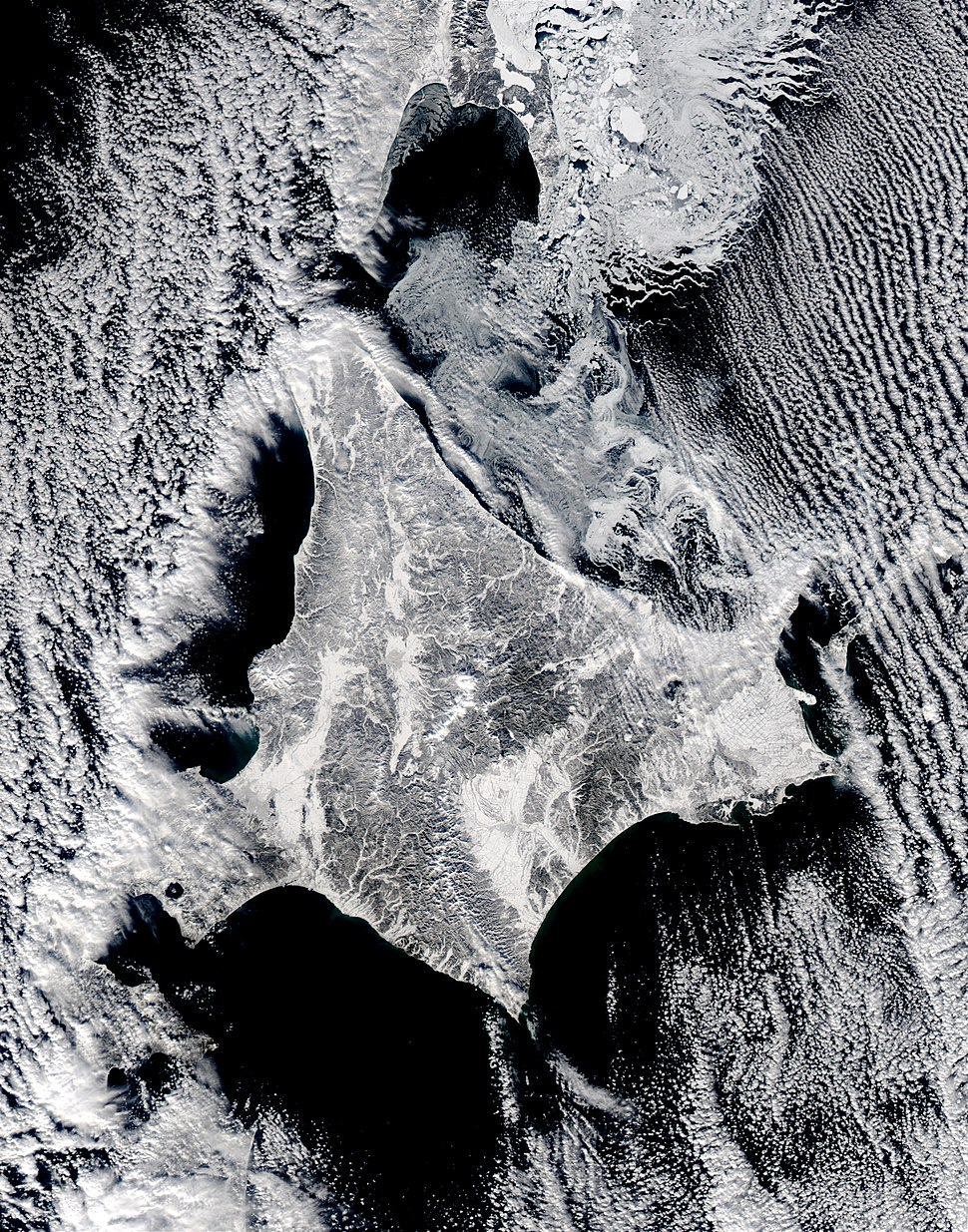 Satellite image of Hokkaido, Japan in January 2003