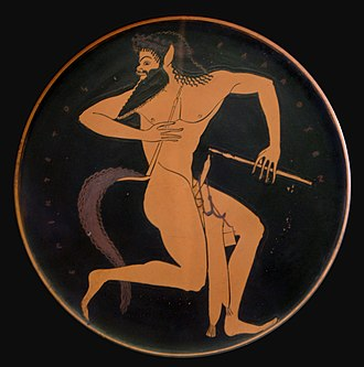 Satyr - Satyr with pipe and a pipe case (Attic red-figure plate), 520–500 BC, from Vulci, Etruria
