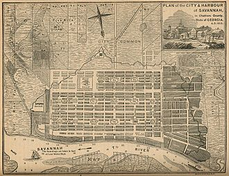 Oglethorpe Plan - Savannah map of 1818 showing continuation of the ward design with minor modifications