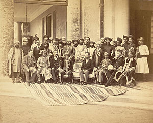Gaekwad dynasty - Sayajirao with Sir Richard Temple, the Governor of Bombay and other members of the court. Circa 1880