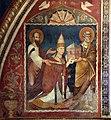 Scuola romana, affreschi del sancta sanctorum, 1280 ca., Niccolò III dona la chiesa ai ss. pietro e paolo 03.jpg
