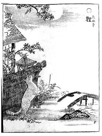 """Japanese raccoon dog - """"Tanuki"""" from Gazu Hyakki Yagyo by Sekien Toriyama"""