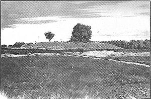 Kanishka stupa - 1899 engraving showing the remnants of the Kanishka Stupa in Shaji-ki-Dheri