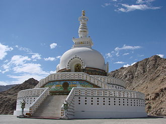 Peace Pagoda - Shanti Stupa, Ladakh, India.