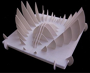 Foamcore - An architectural model made from foamcore on a styrofoam base