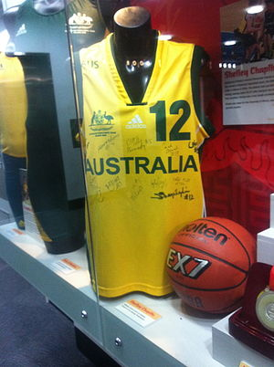 Shelley Chaplin - A Gliders guernsey that Chaplin wore at the 2008 Paralympics on display at the Australian Institute of Sport. It is signed by her team mates.