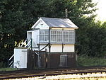 Shepherds Well railway station, Signal box, EG07, August 2013.JPG