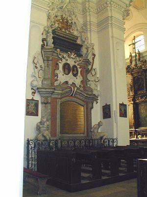Zofia Czarnkowska Opalińska - Jan and Zofia Opaliński monument, church of Sieraków