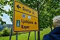 Signpost Ljubljana Koper Škoflje (40865934002).jpg