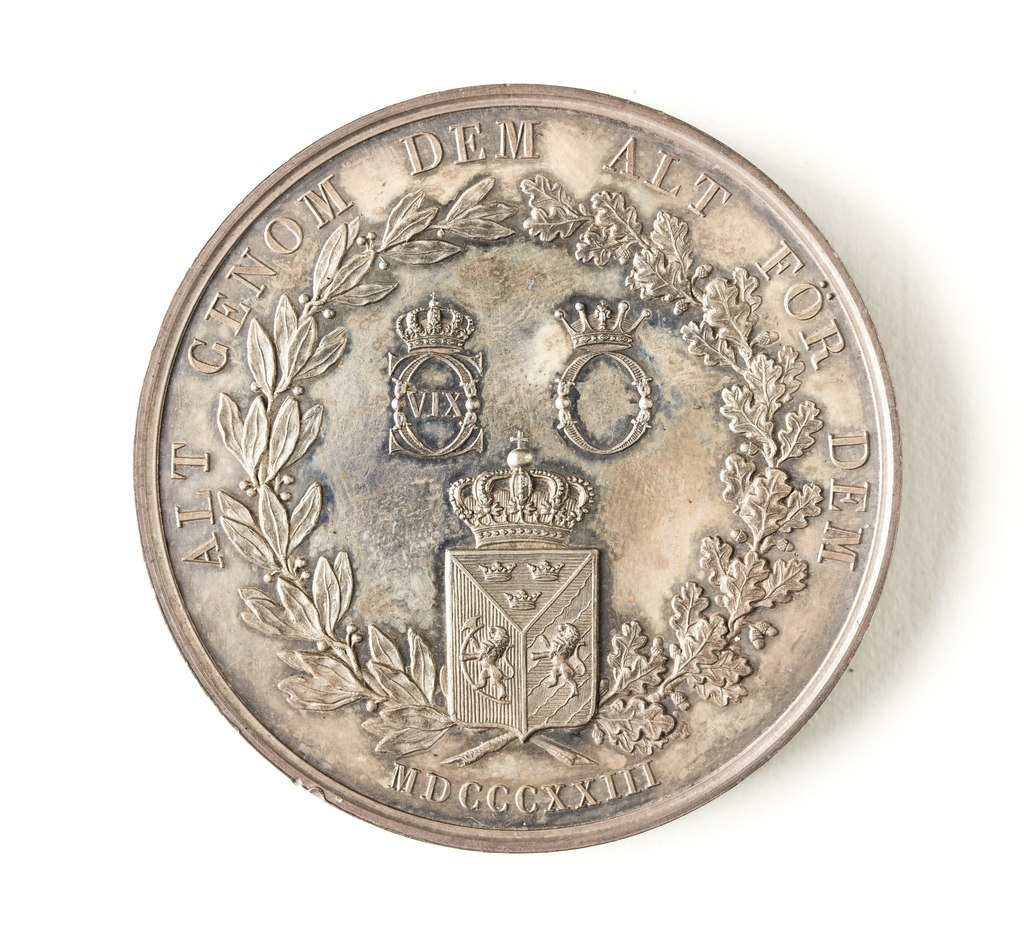 Сильвермедаль, 1823. Frånsida, Sverige-Norge - Skoklosters slott - 109337.tif
