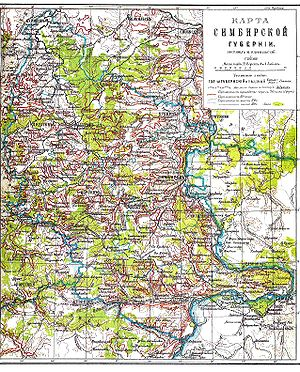 Simbirsk Governorate - Map of Simbirsk Governorate.