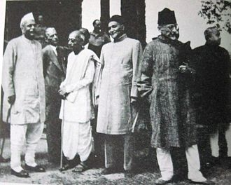 Abul Kalam Azad - At Simla Conference (1946) with Rajendra Prasad, Jinnah and C. Rajagopalachari