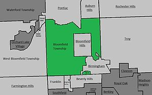 Bloomfield Township, Oakland County, Michigan - A simple map of Bloomfield Township. Neighbouring places are in light grey, other places in dark grey. Cities are underlined.