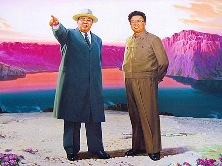 A painting of Kim Il-sung and Kim Jong-il on top of Paektu Mountain Sinpyong Lake, North Korea (2921982738).jpg