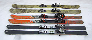 Ski geometry - Different geometry at skis for backcountry skiing (top), allmountain skis and piste skis for carve turns.
